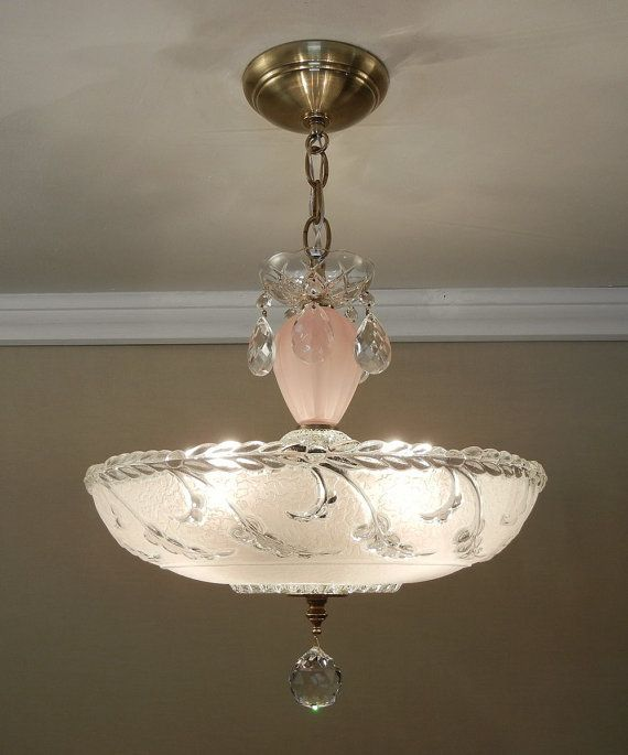 Vintage Glass Solid Brass Chandelier 1930 S Large 14 5 Soft Pink Ceiling Light Fixture Rewired On Etsy 365 Purple Chandelier Brass Chandelier Pink Ceiling