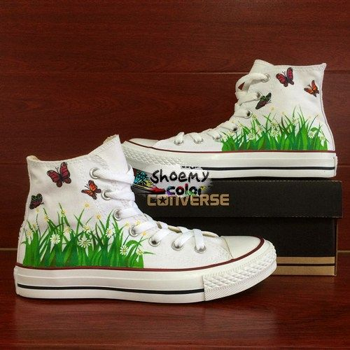Converse Shoes Butterfly Hand Painted White Canvas Sneakers for Women