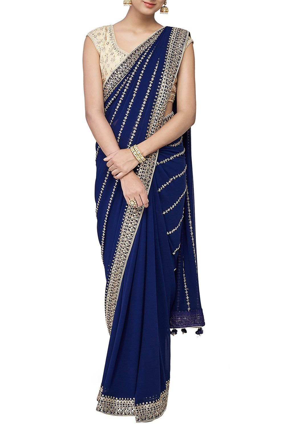 Navy blue saree with gotta patti and zari embroidery blue saree