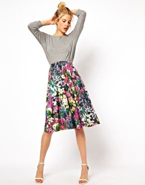 Floral Pleated Midi Skirt | Asos | Sewing Inspiration | Pinterest ...