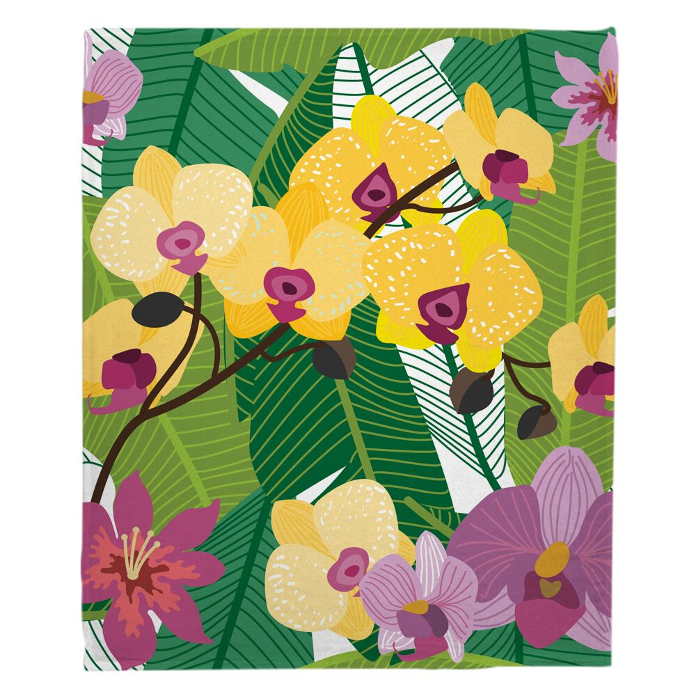 Orchid Garden Blanket Memory foam bath mats, Orchids