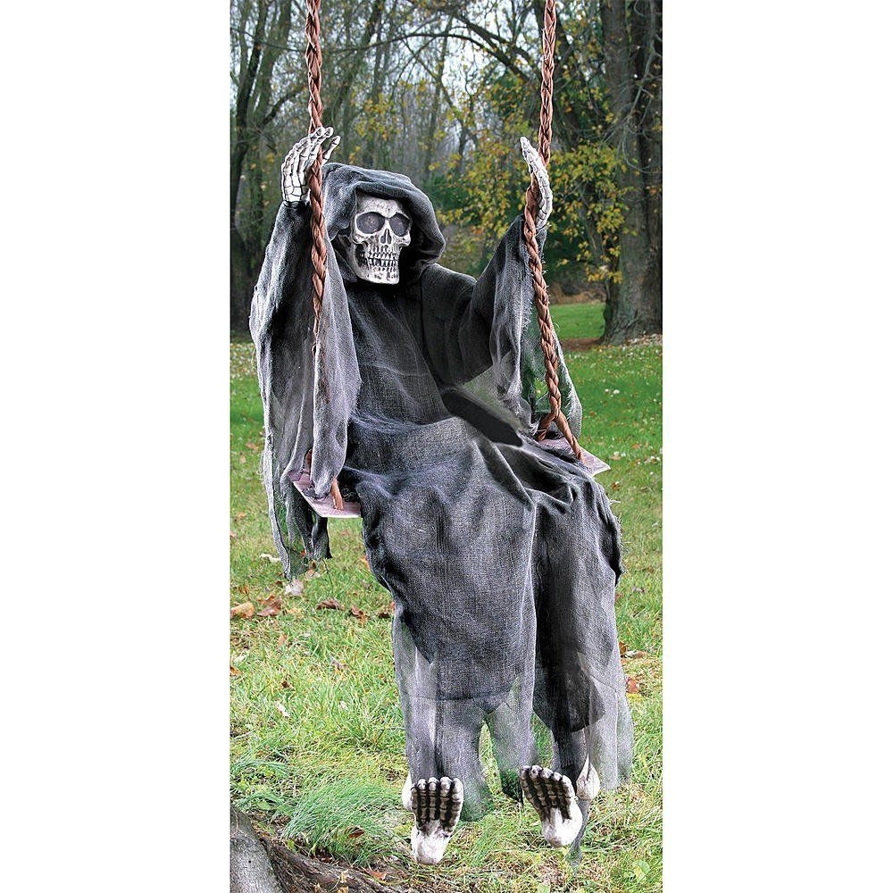 Life Size Reaper on Swing Halloween Prop Outdoor Yard Decoration - halloween house decoration