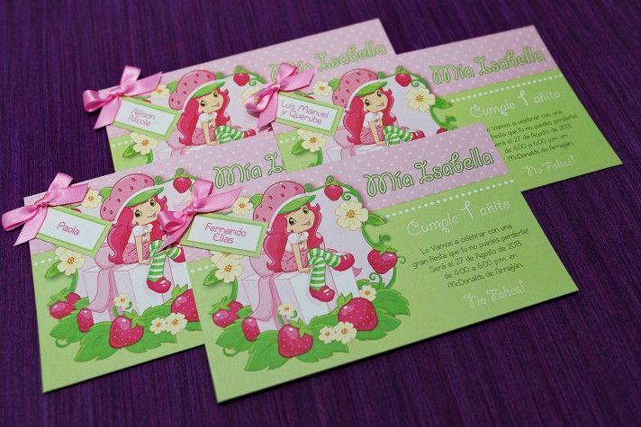 Invitaciones para Cumpleaños Tema Rosita Fresita | frutillitas ...