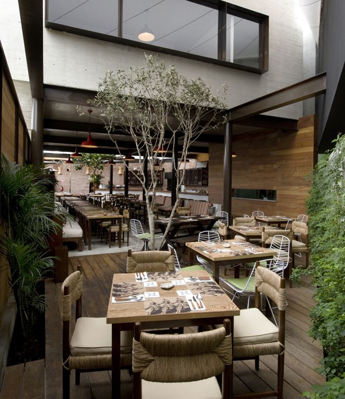 The Images Collection Of Open Kitchen Restaurant Decor: Restaurant With Large Open Garden