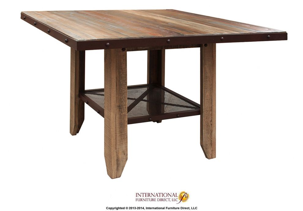 Counter Height Dining Table   Solid Wood W/iron Mesh Shelf By International  Furniture Direct