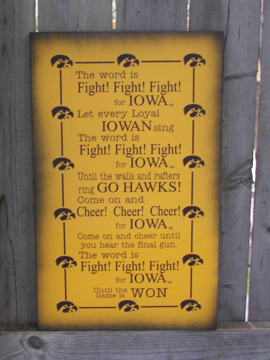 Iowa Hawkeye Fight Song Wood Sign, Canvas Wall Hanging, Canvas ...