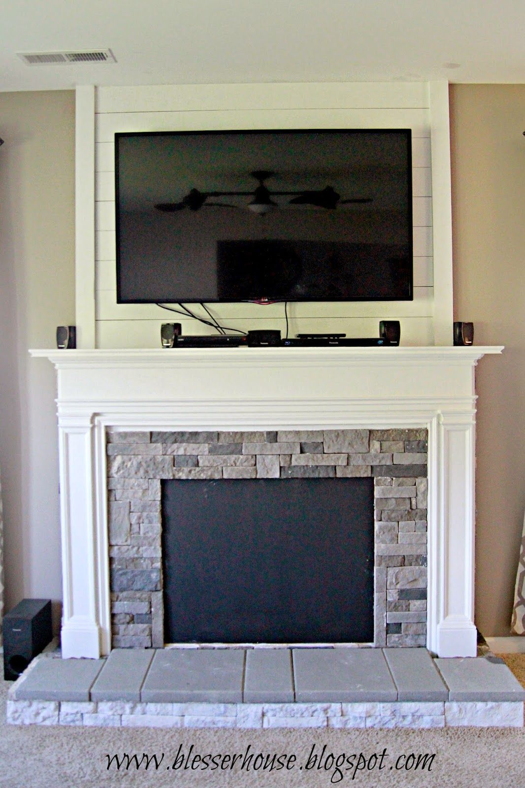 DIY Faux Fireplace Entertainment Center Part 3 | Faux fireplace ...
