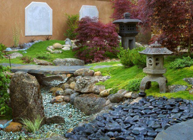 steingarten feng shui stil rasen flusssteine | garten anlegen, Gartenarbeit ideen