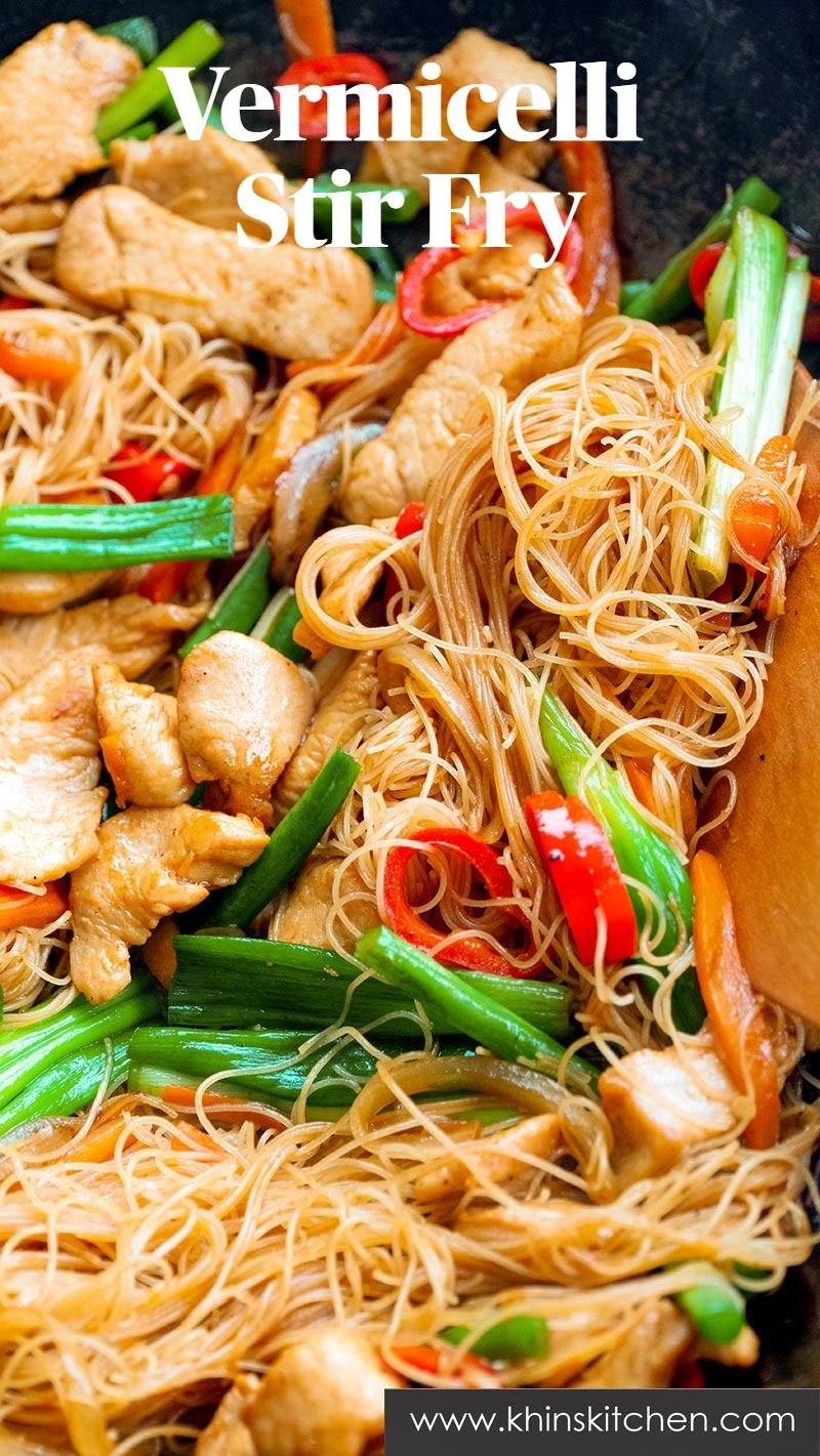 Chicken And Rice Vermicelli Stir Fry Khinskitchen Rice Noodles Recipes Recipe In 2020 Hot And Sour Soup Vermicelli Recipes Chicken Vermicelli