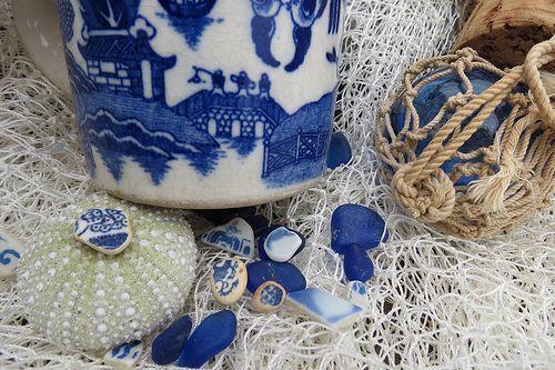 Sea Glass Pottery Beach Pottery Cobalt Blue