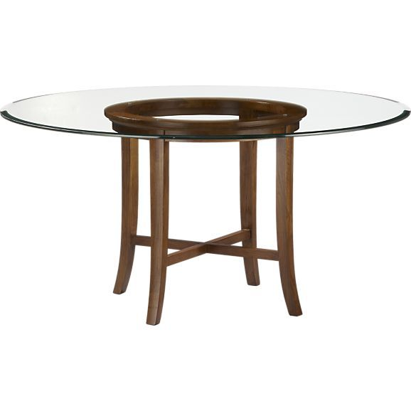 Crate Barrel Halo Cognac Dining Table With 60 Glass Top 650