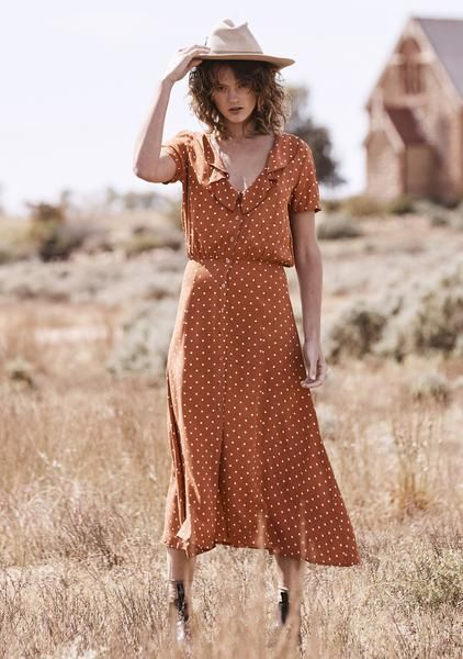 5894898ab09fe5 Lilly Lady Dress Classic Polka Dot Rust | AUGUSTE | Order skirts ...