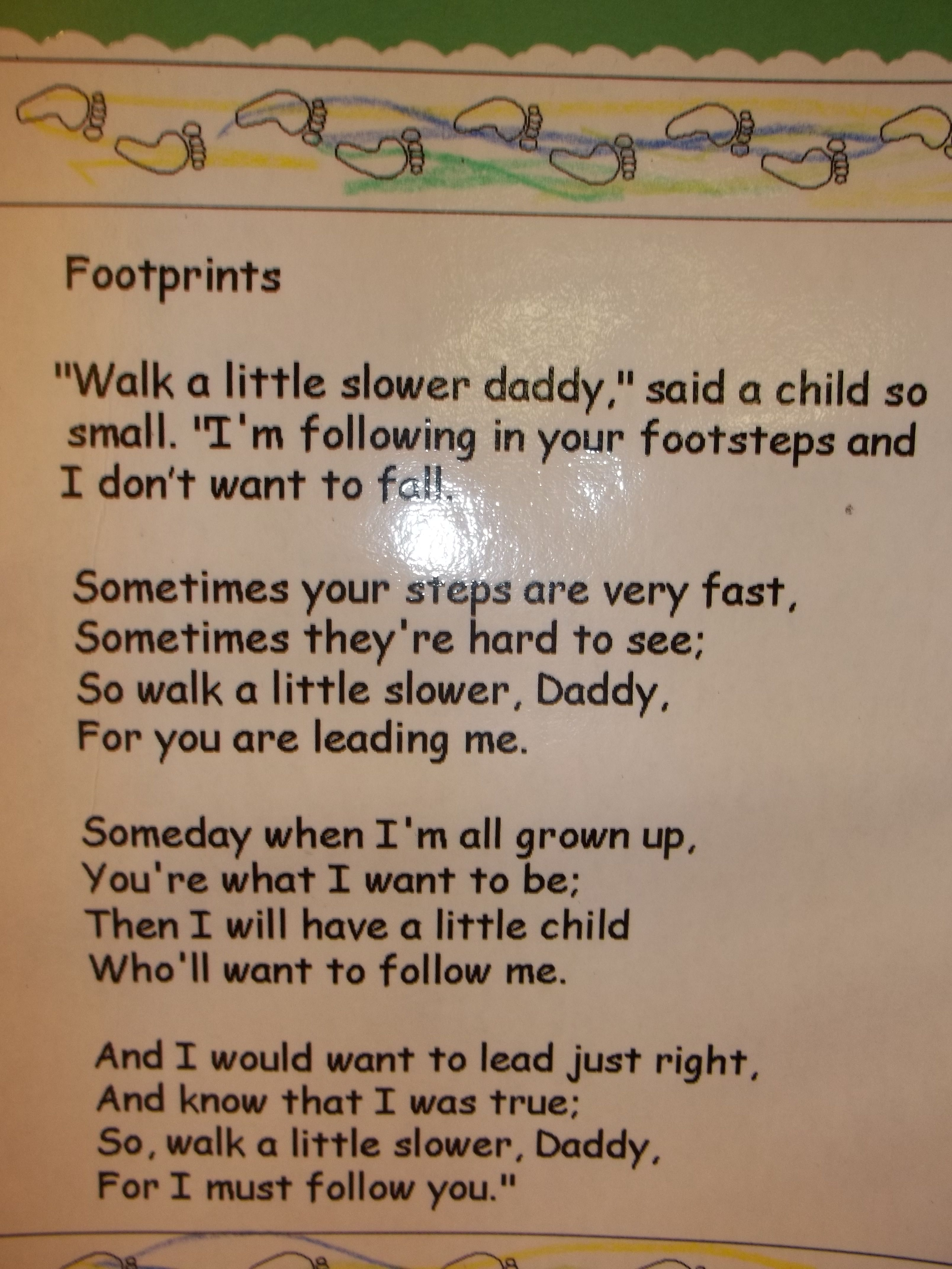 Close-up of footprints poem so you can read it. Found at dltk.com ...