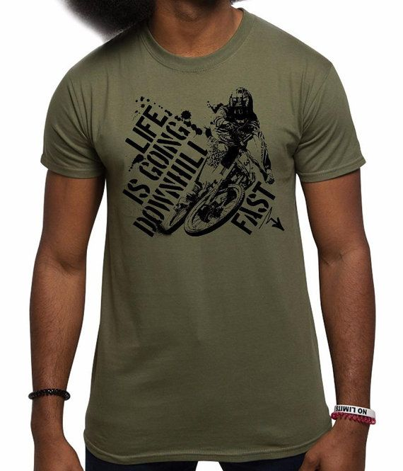 966a3aa51 Men's Life Is Going Downhill Fast Mountain Biking MTB Bike T Shirt ...