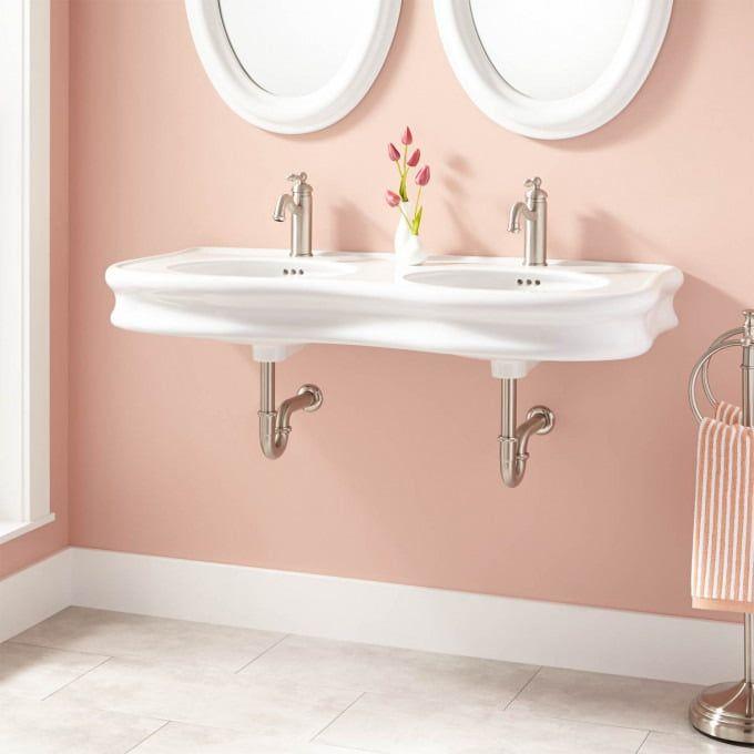 Wall Mounted Bathroom Sinks Sink, Double Porcelain Bathroom Sink