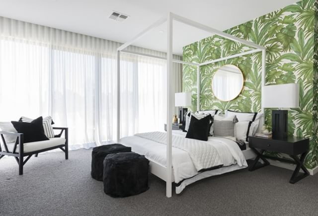Loving This Gorgeous Bedroom Feature Wall For The Vintage By Yarrum Designer Homes See More Of Palm Springs Inspired Display Home Interiors In Our