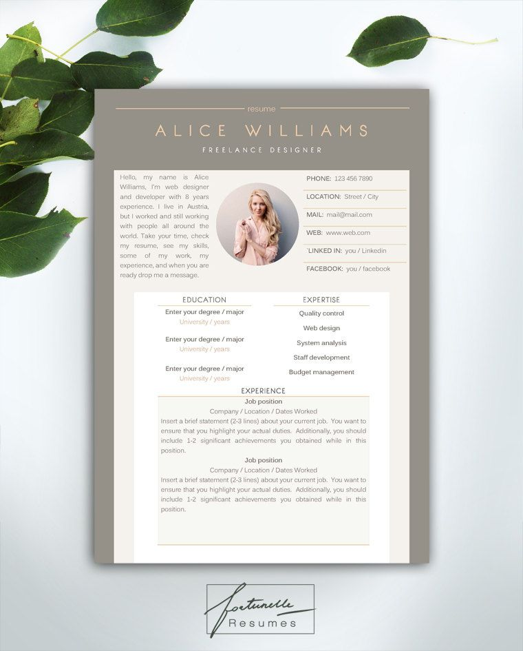 Resume Template  Page  Cv Template Cover Par Fortunelleresumes