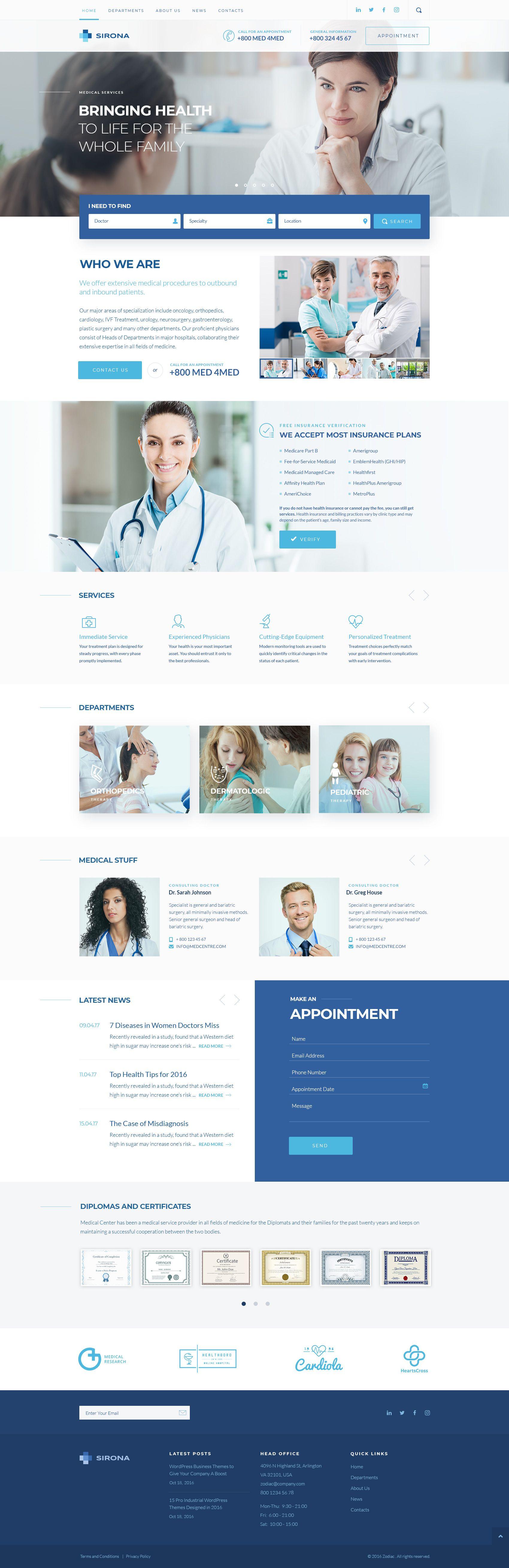Sirona Medical Health Theme Elementor Medical Website Design Medical Website Design Inspiration