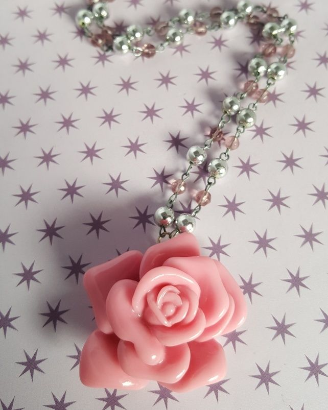 Handmade Pink Rose Beaded Necklace