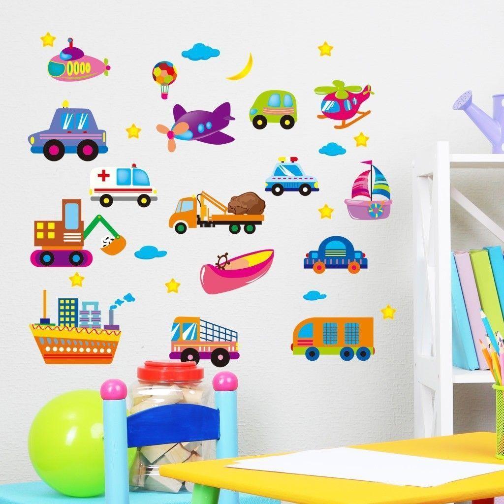 Raumaufkleber für mädchen wandtattoo wandaufkleber kinderzimmer cartoon auto lastwagen schiff