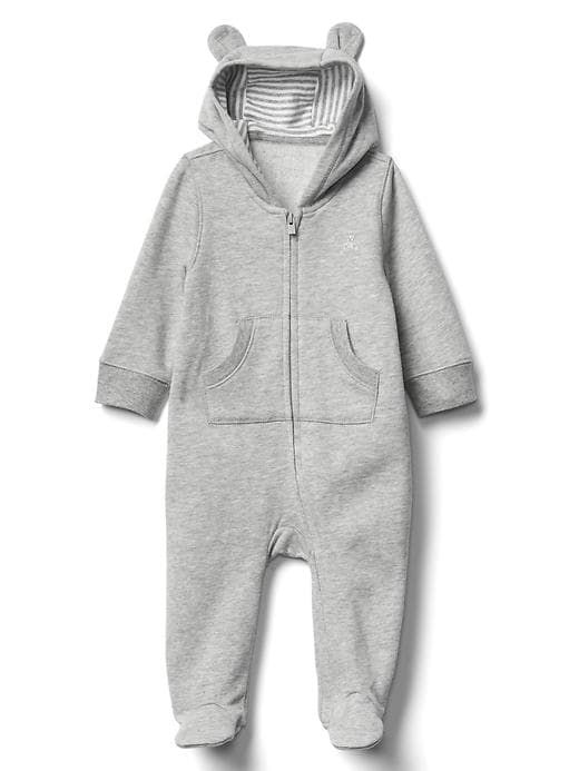 d8a0d6793 Gap Baby Bear Zip Footed One-Piece Grey Heather Size 3-6 M ...