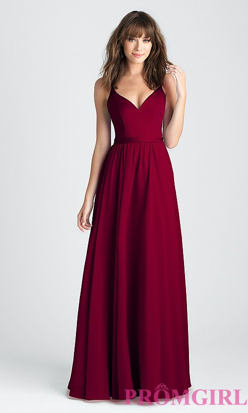 Image of classic a-line long prom dress in burgundy red. Style: NM ...