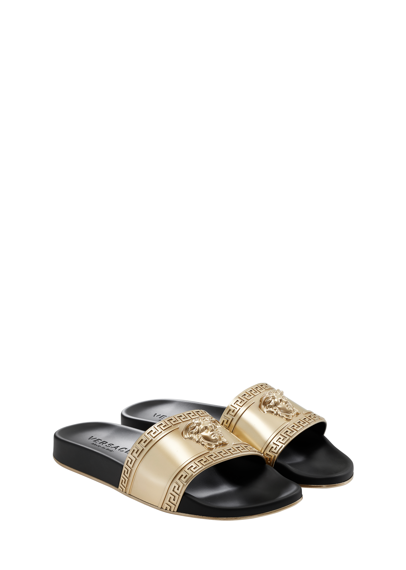09859fff11c0f0 Medusa Head Beach Slides - gold Sandals