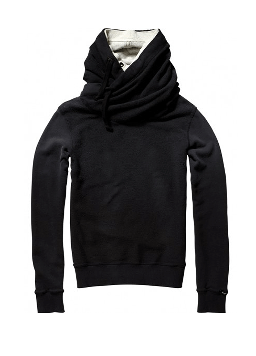 Maison Scotch Double Collar Hooded Sweater in Black