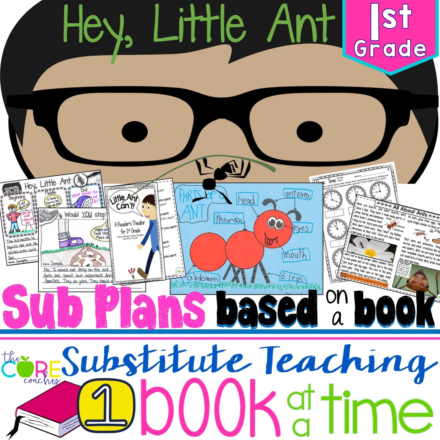 Full-day substitute lesson plans for 1st grade based on the book Hey Little Ant.Differentiated to be used any time during the year.