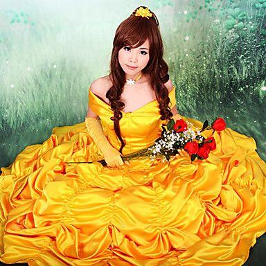 Costume principessa donna vestito giallo la bella e la bestia favola carnevale
