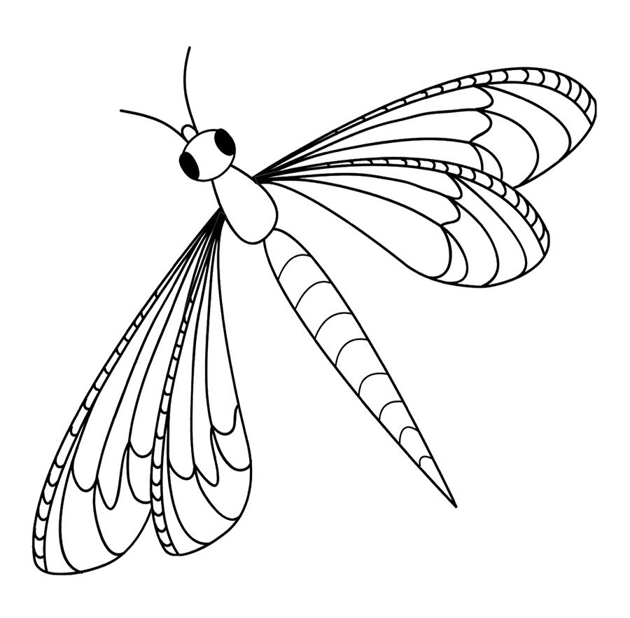 Cute Dragonfly Coloring Page For Kids Insect Coloring Pages Dragonfly Images Butterfly Coloring Page [ 882 x 900 Pixel ]