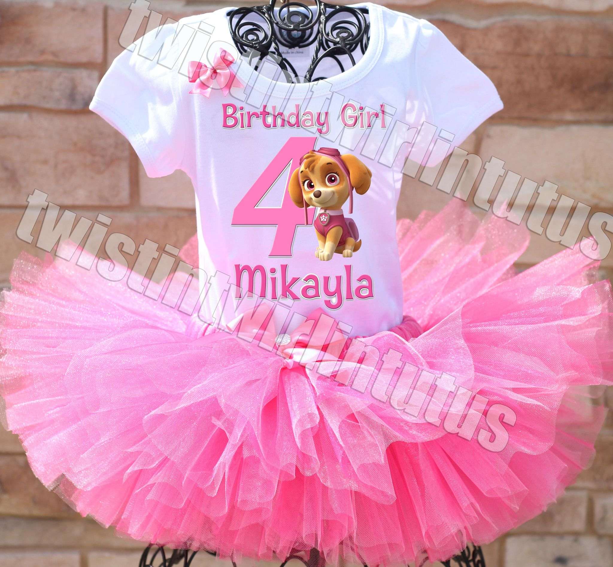 Pig Girl Birthday Tutu Outfit Custom Any Name and Age Added for Free