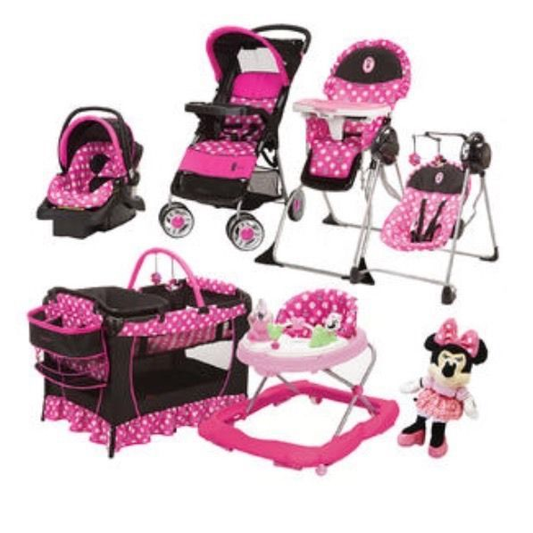 3abea637dd28 8 Pc Set Minnie Mouse Baby Girl High Chair Swing Doll Car Seat ...