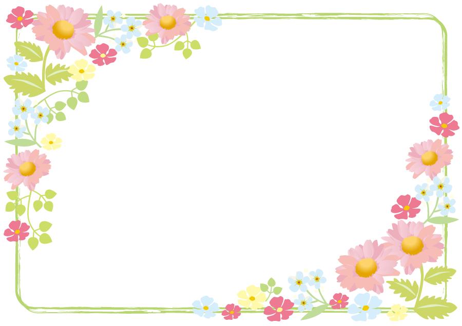 フリーイラスト マーガレットなどの花の飾り枠 Bordes 飾り枠 花の