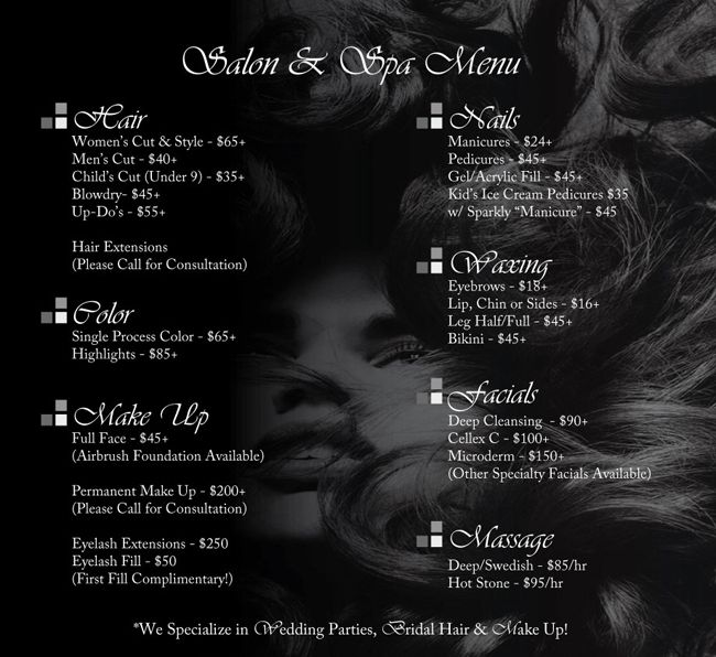 The hair salon price list les ciseaux salon and spa for Spa services near me