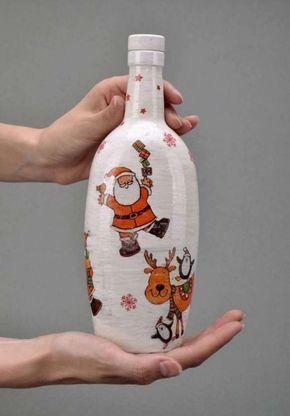 Resultado de imagen para botellas decoradas con for Botellas de vidrio decoradas para navidad