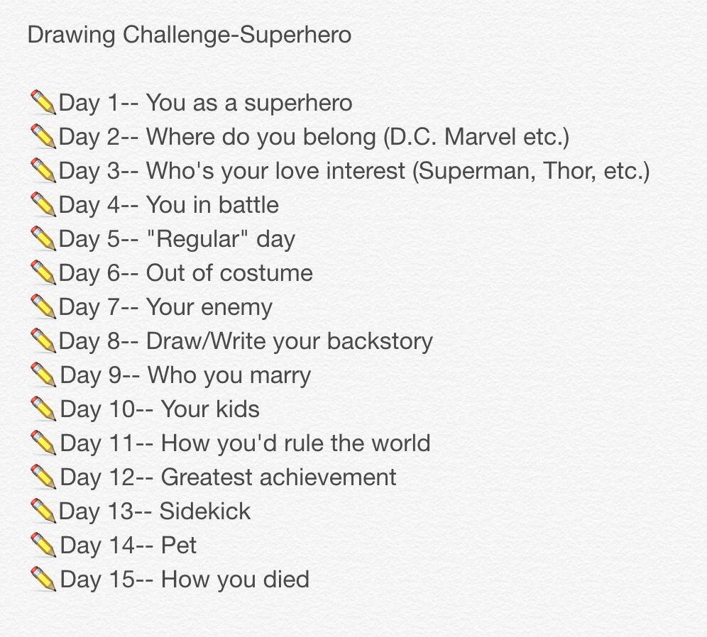 15 Day Superhero Drawing Challenge Drawing Challenge Drawings