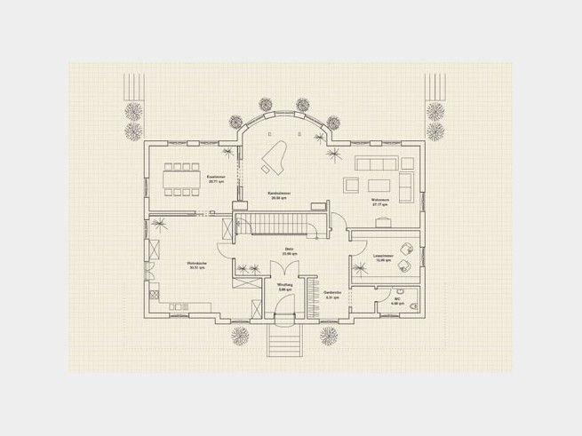 Grundriss EG Traditionelle Landhausvilla #Einfamilienhaus von - küche mit esszimmer