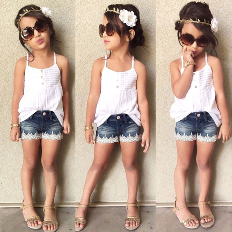 2pcs Baby Girls T-Shirt Dress and Jeans Pants Clothes Outfits Set