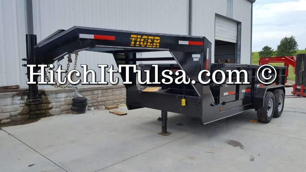 Tiger Gooseneck Dump Trailer 77x14 Tandem 6k Axles With Brakes 2 Ft Sides 10 Guage Double Rear Doors Diamond P Utility Trailer Trailers For Sale Dump Trailers