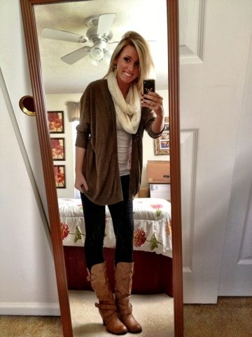 Business casual work outfit brown cardi, cream scarf, dark