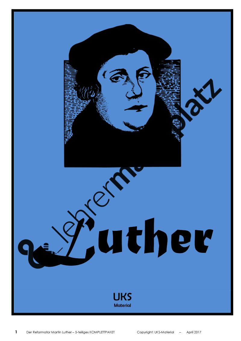 martin luther und die reformation f cher bergreifende materialsammlung komplettpaket uks. Black Bedroom Furniture Sets. Home Design Ideas