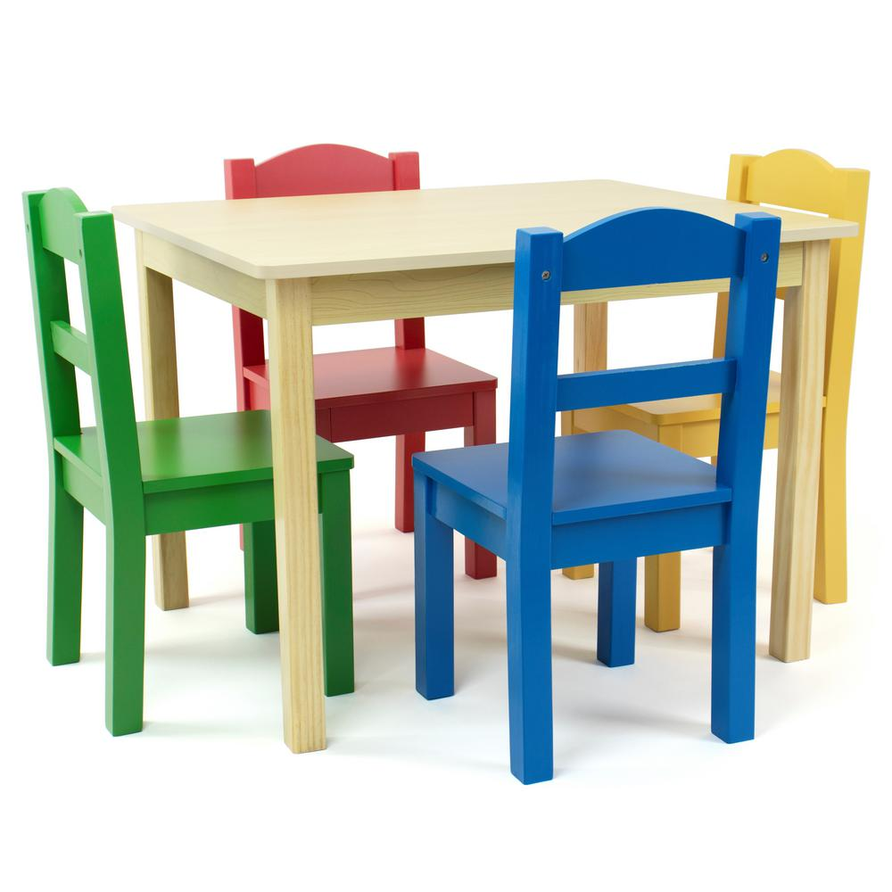 Humble Crew Primary 5 Piece Kids Natural Table And Chair Set Tc715 The Home Depot In 2020 Table And Chair Sets Kids Chairs Kids Wood