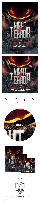 Night of Terror Halloween Flyer. Professional holidays