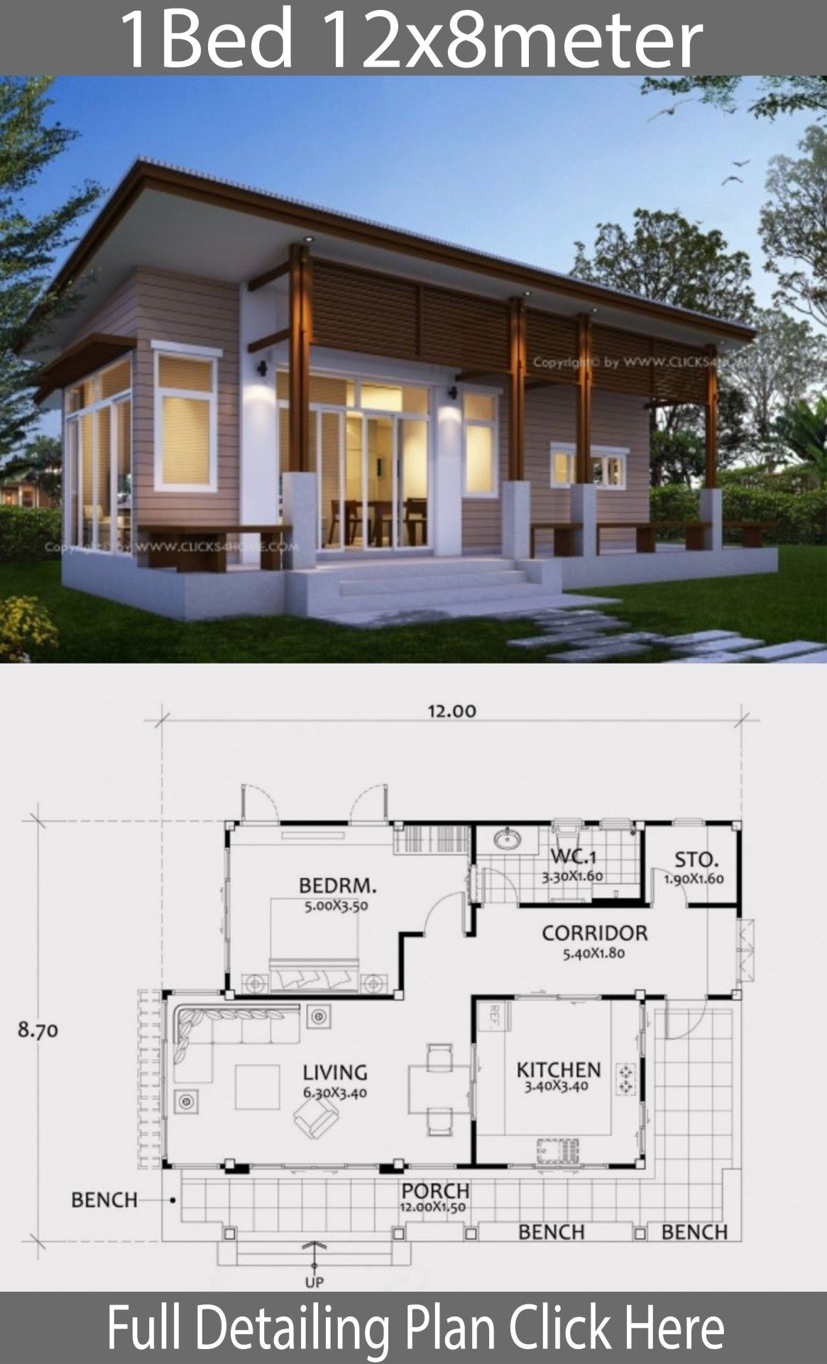 Home Design Plan 12x8m With One Bedroom Home Design With Plansearch Home Building Design Home Design Plan House Design