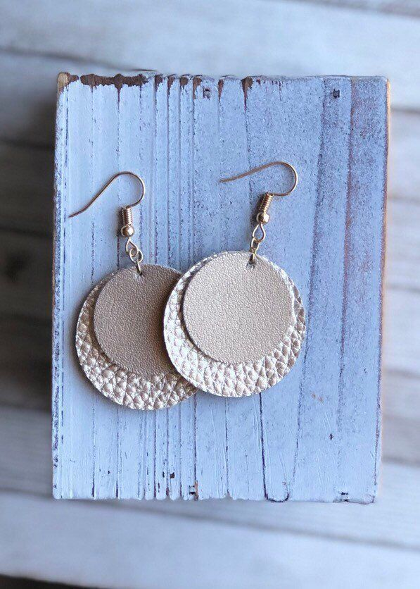 Photo of Gold disc leather earrings, circle earrings, gift for friend, affordable …