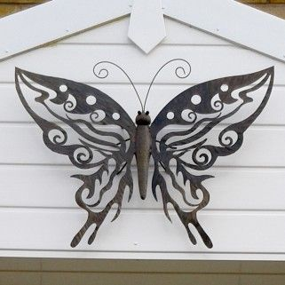 Large Decorative Metal Butterfly Garden Wall Art Black Brown