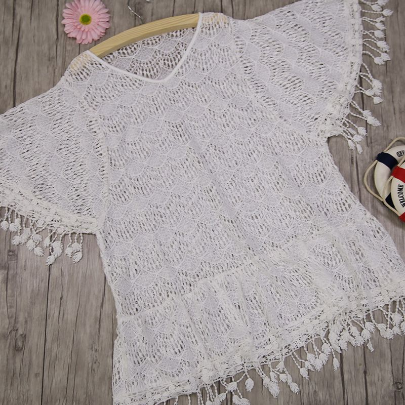 $32.9 – New Arrivals Sexy Beach Cover up White Crochet Tassel Robe de Plage Pareos for Women …