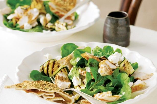 Herbed dukkah flatbreads and chargrilled chicken salad