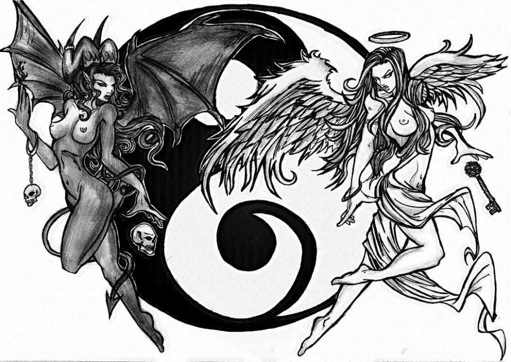 Ying Yang Bad : Gallery for u e good and bad angels drawings patch
